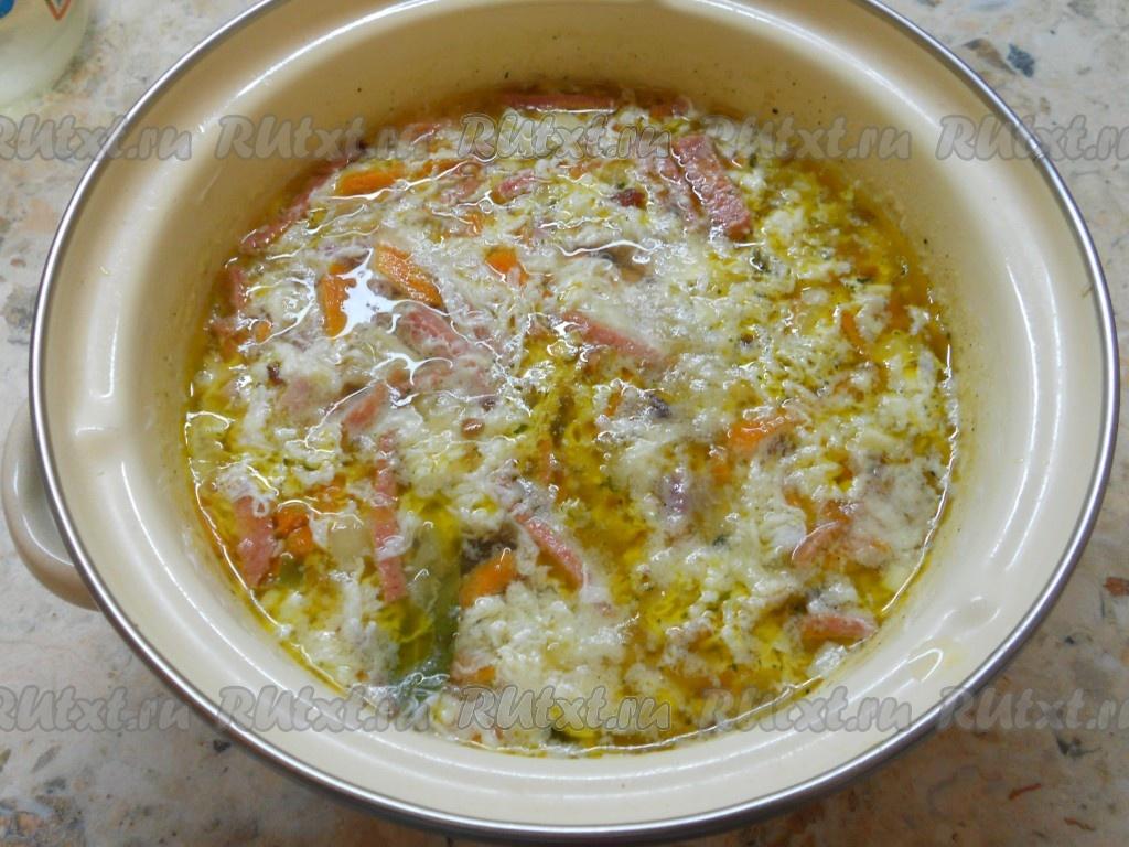 суп сподкапченой колбасой и яйцом рецепт с фото