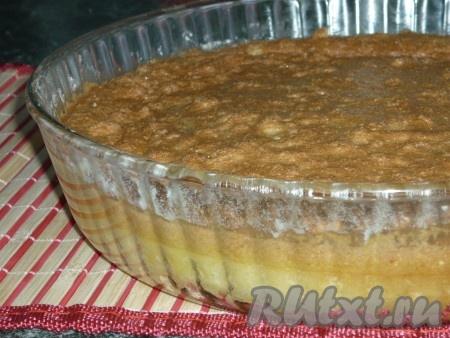Остудить умное пирожное, посыпать сахарной пудрой, украсить по желанию. При подаче нарезать на порционные кусочки.