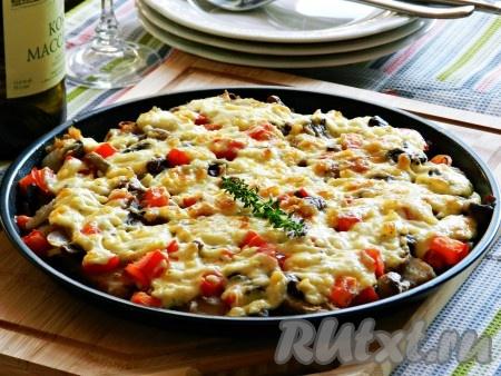 рецепт свинина с грибами и сыром в духовке рецепт
