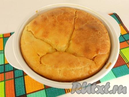 Выпекать пирог в предварительно разогретой до 180-190 градусов духовке приблизительно 55-60 минут готовность проверяйте деревянной лучинкой).