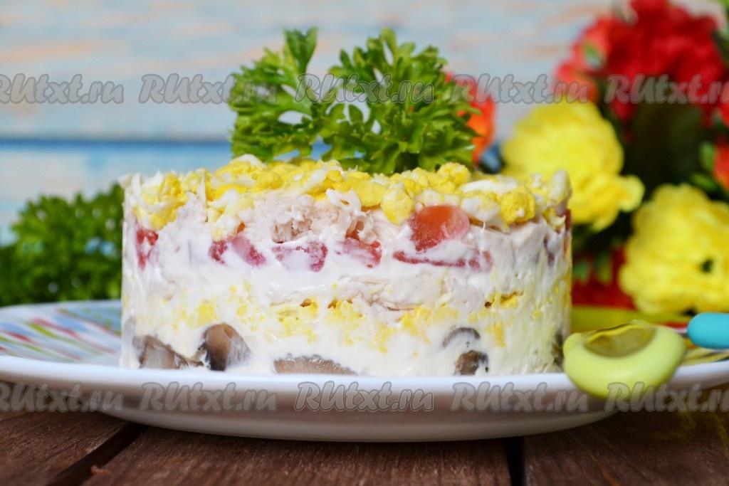 салат с копченой курицей и грибами ирина