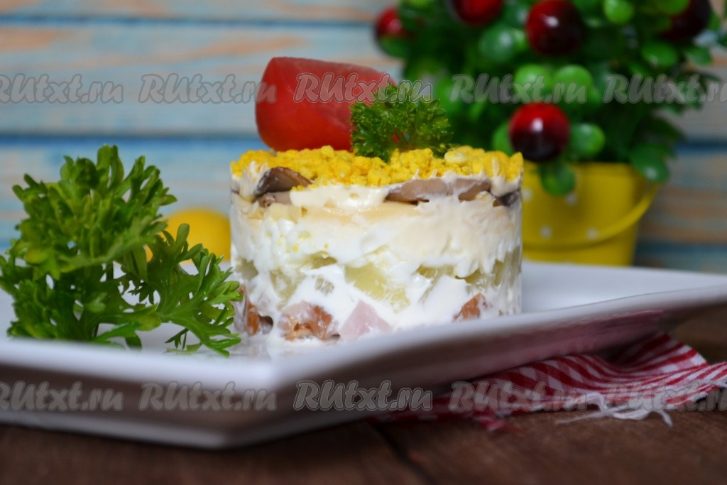 салат торт с грибами и курицей