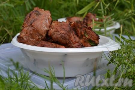 Нежный, сочный, изумительно вкусный шашлык из свинины, маринованный в луке, подаем на стол горячим.