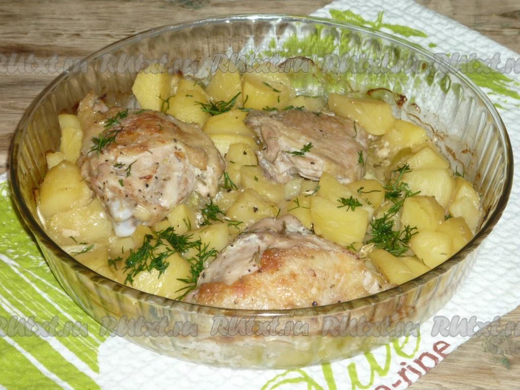 Курица в духовке с квашеной капустой и картошкой 3