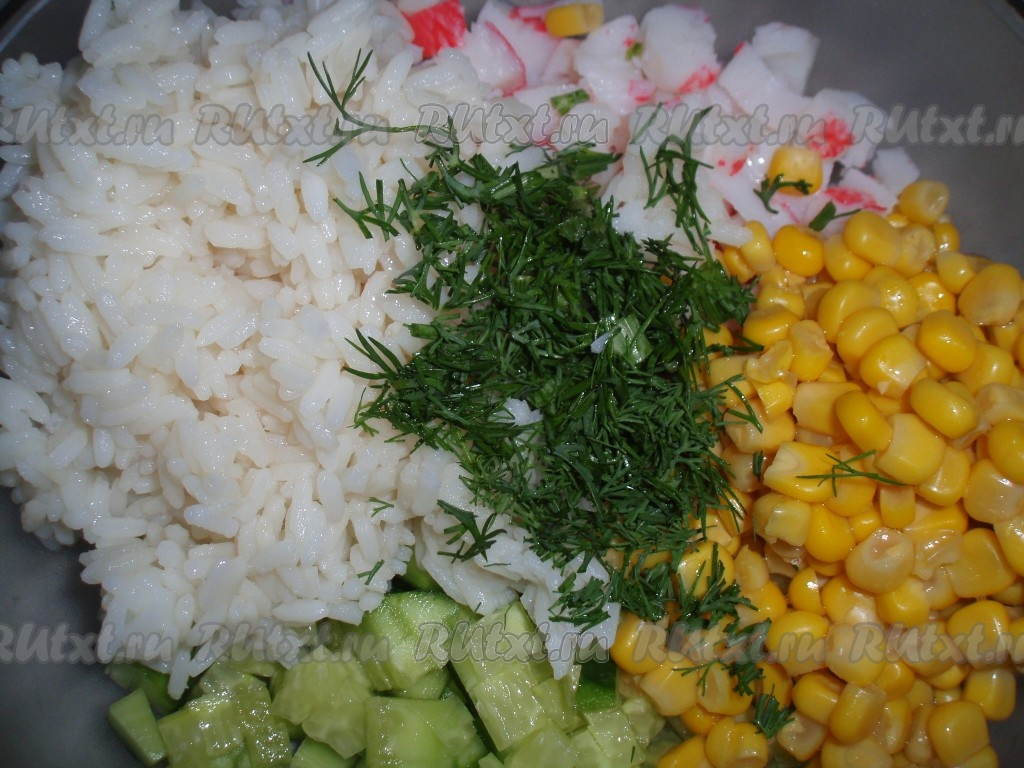 Как сделать рис для крабового салата