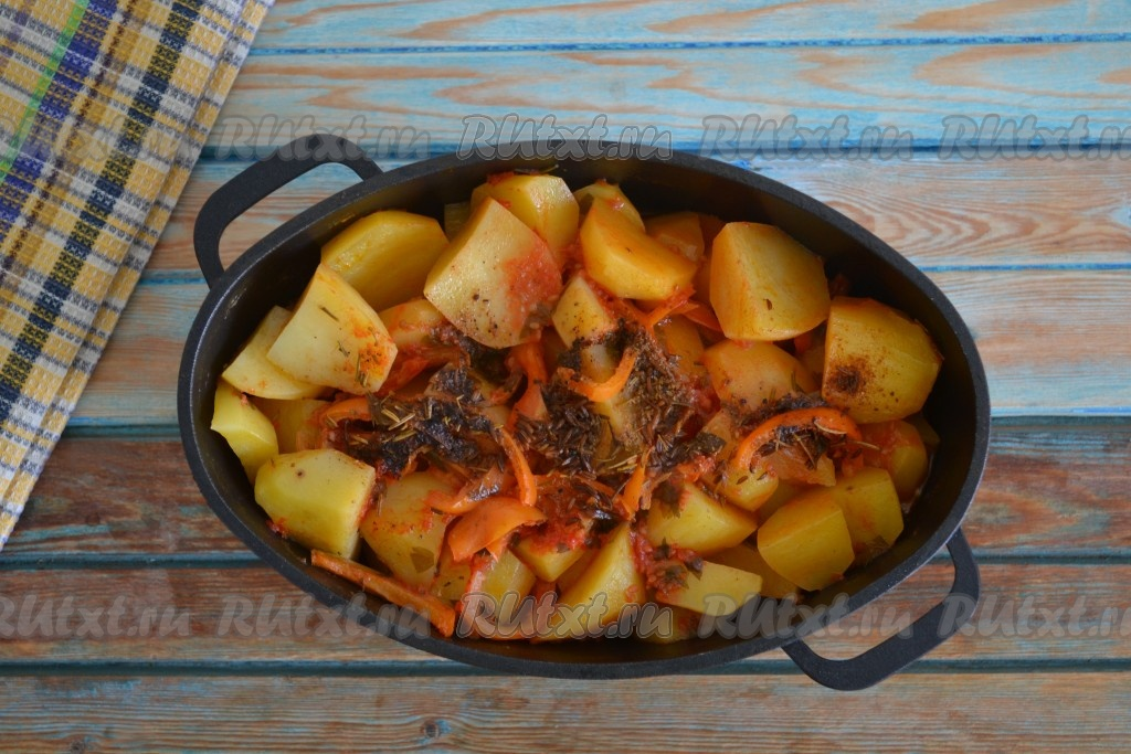 Тушеный картофель в казане рецепт