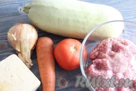 Подготовить продукты для приготовления кабачков с фаршем и сыром в духовке. Фарш для нашего блюда можно взять любой.