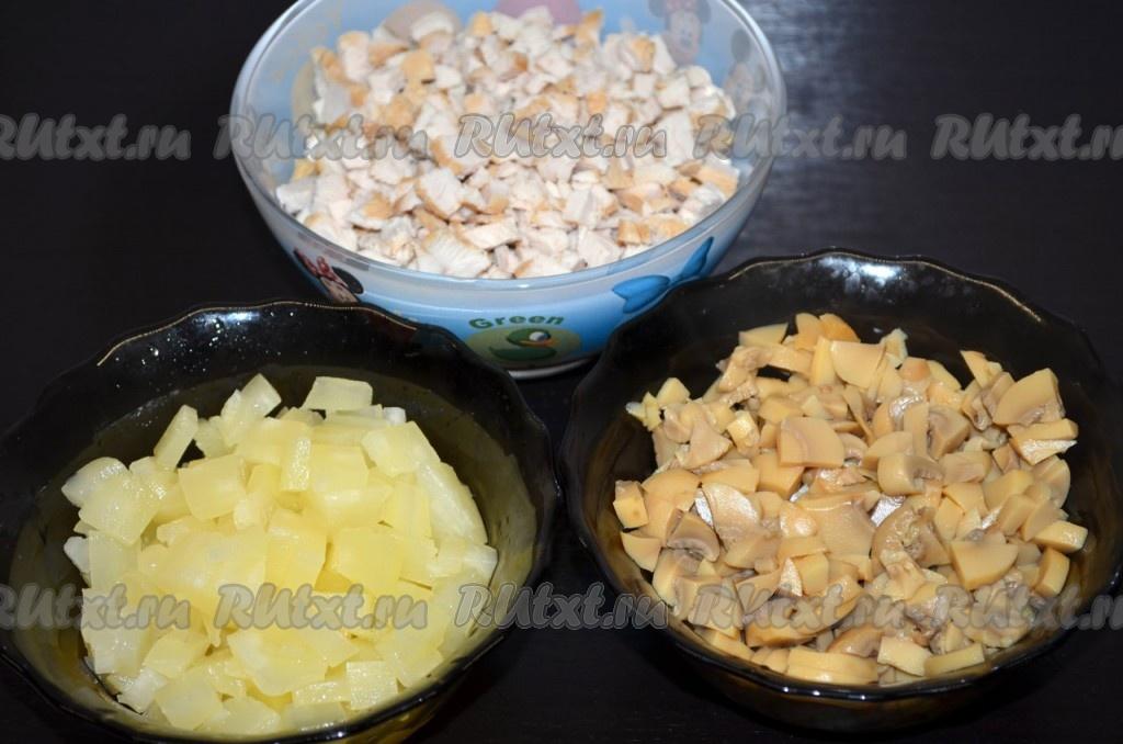 Салат викинг рецепт с ананасами и курицей