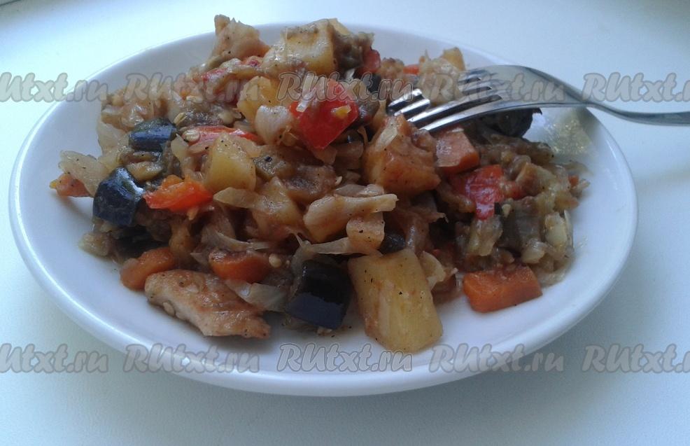 Овощное рагу с куриным филе рецепт