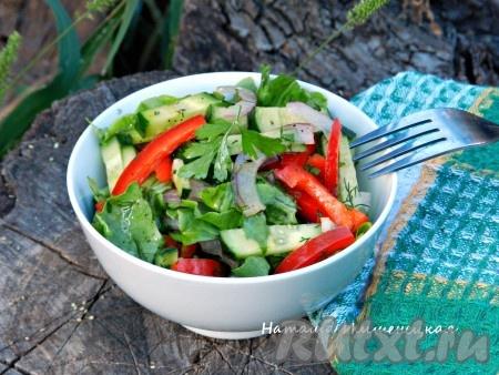 Салат из болгарского перца и огурцов