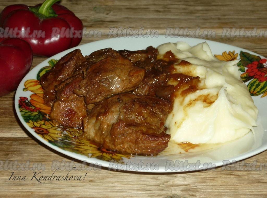 рецепт с фото жареного мяса на сковороде с фото