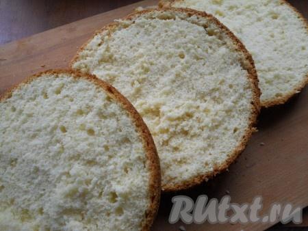 Выпекать бисквит в разогретой до 180 градусов духовке около 40 минут. Бисквит немного остудить в форме, вынуть и полностью остудить на решетке. Дать отлежаться бисквиту хотя бы часов 5. После этого бисквит разрезать на 2 или 3 части (как вам понравится, я разрезала на 3 части).