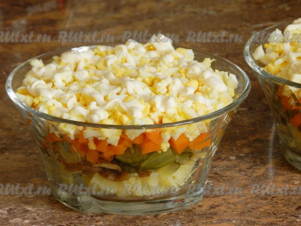 рецепты салатов с печенью и грибами шампиньонами