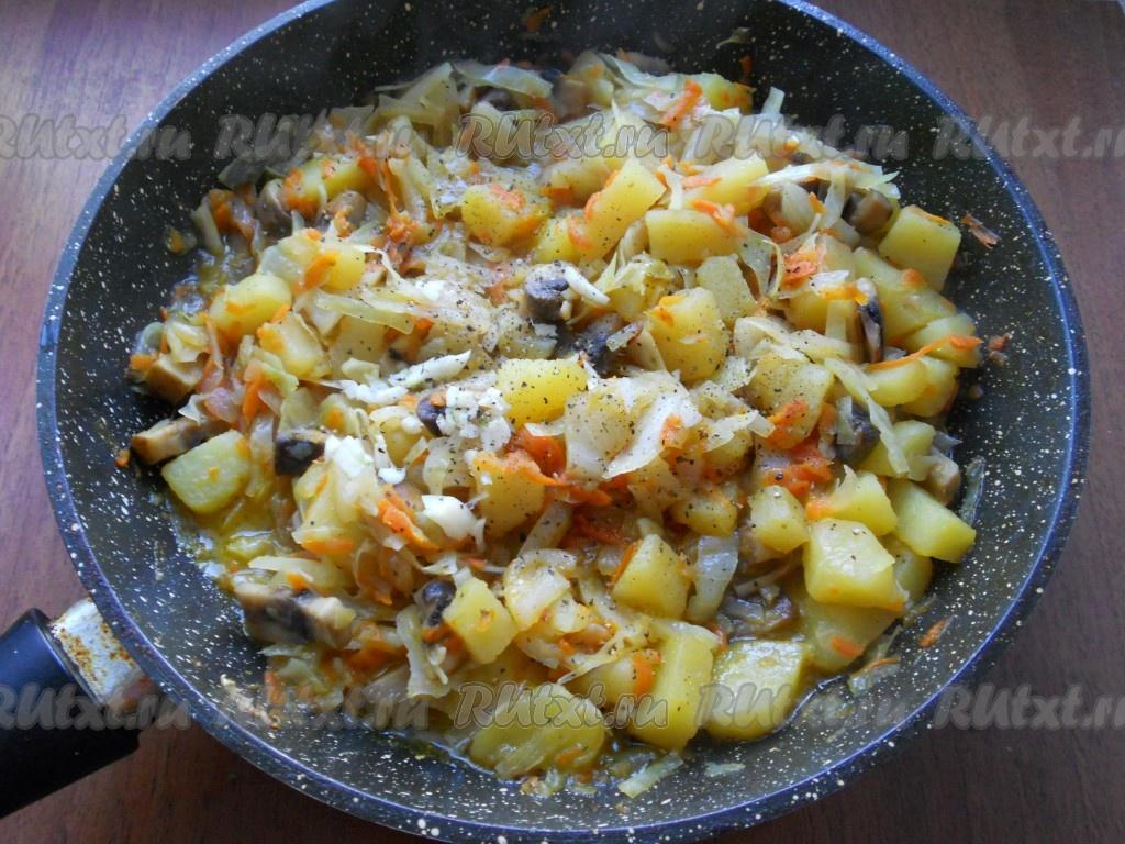 капуста с грибами тушеная с картофелем