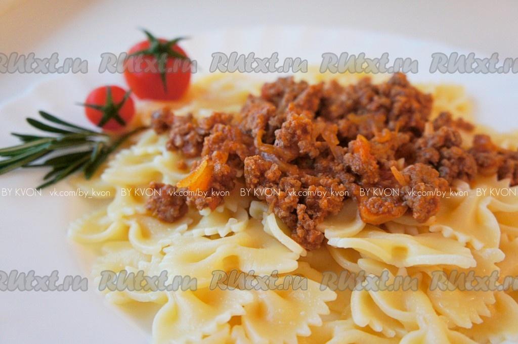 Паста с томатным соусом и фаршем рецепт