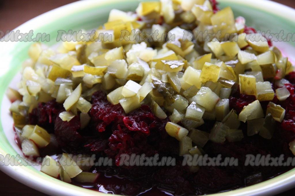 Салат из вареной свеклы и соленых огурцов рецепт с фото очень вкусный с