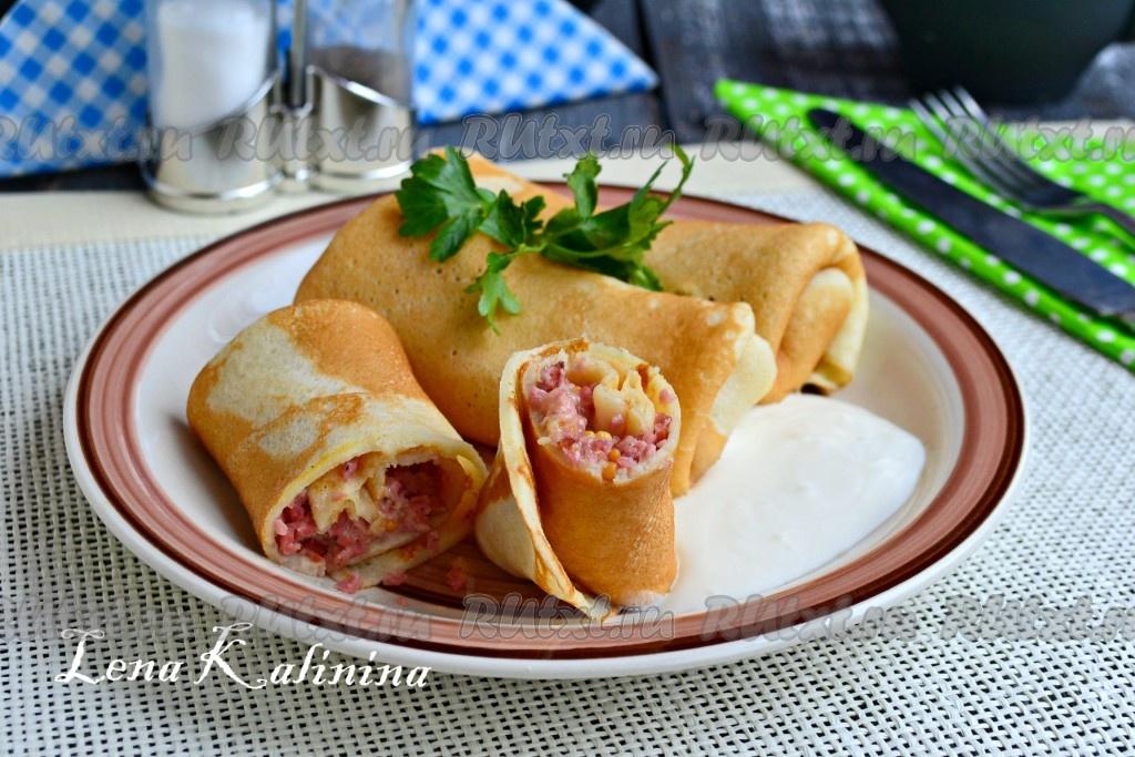 Блинчики с колбасой рецепты