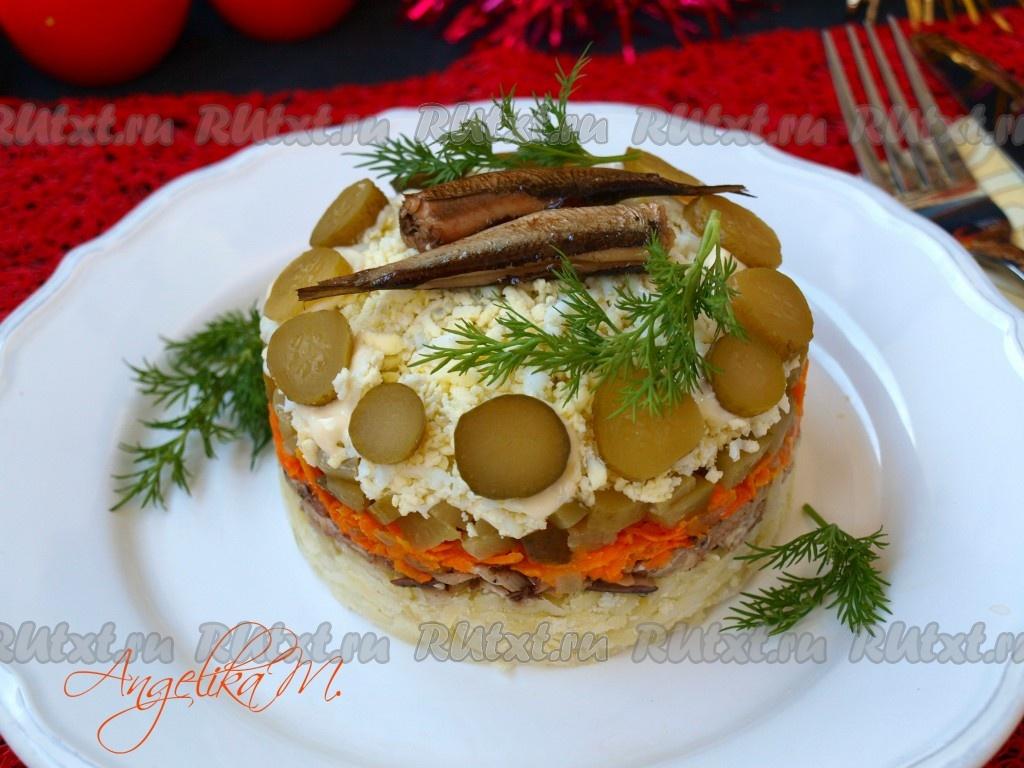Салат из шпрот с картофелем