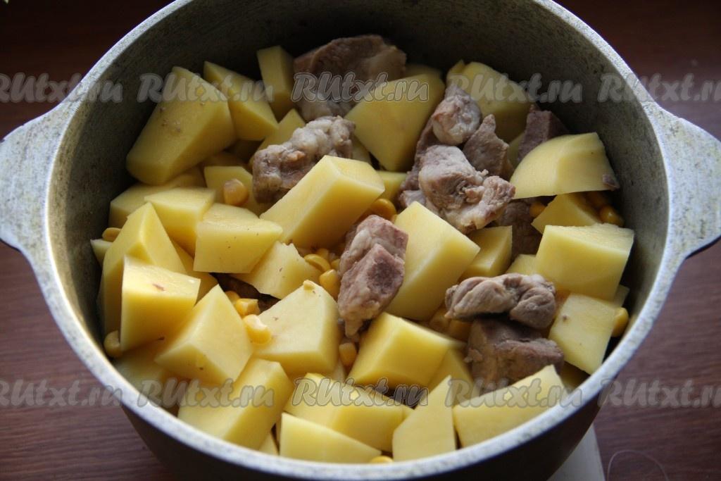 рецепт вкусной тушеной картошки с мясом в казане