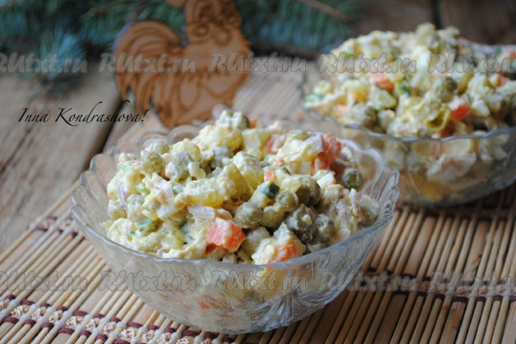 Вкусный салат оливье с курицей
