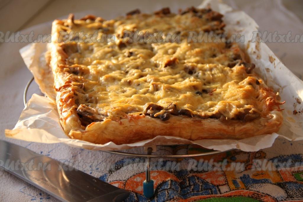 пирог из бездрожжевого слоеного теста с курицей рецепт