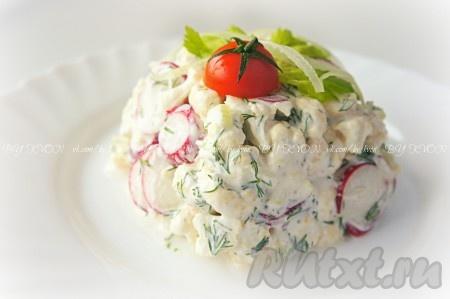 Вкусный, полезный салат из свежей цветной капусты готов! Приятного аппетита!