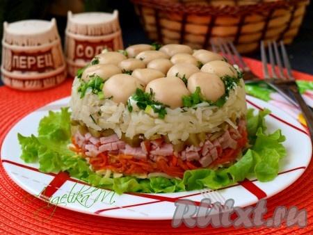 рецепт салата поляна с корейской морковью