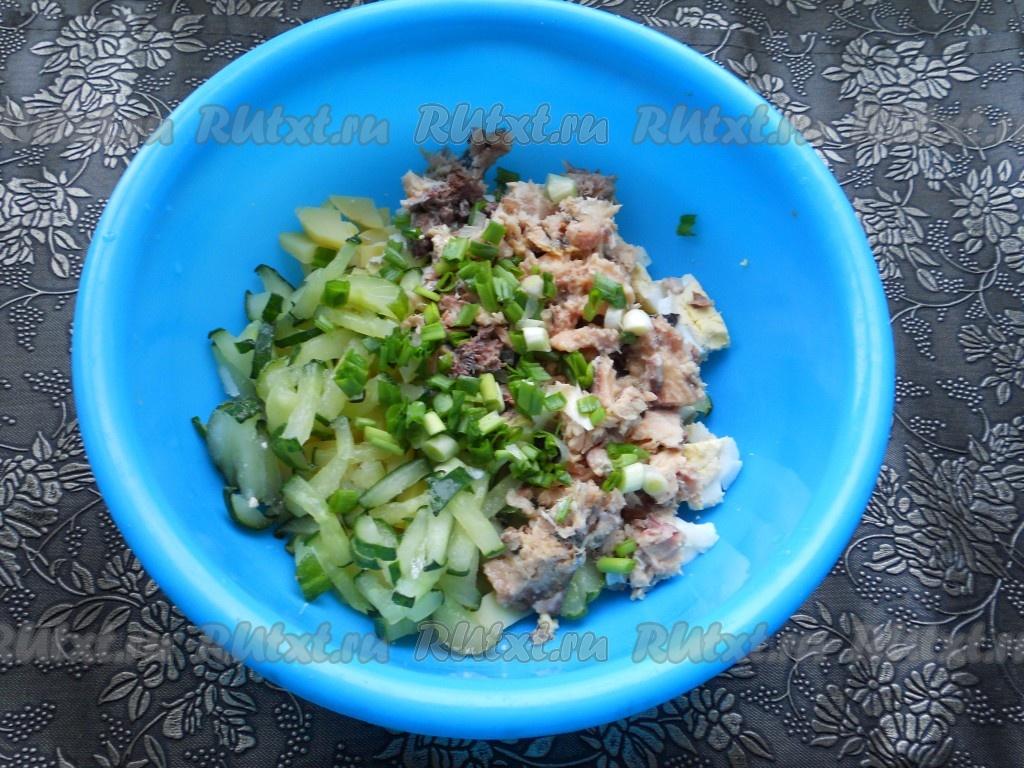Салат из рыбных консервов рецепт классический рецепт пошаговый с