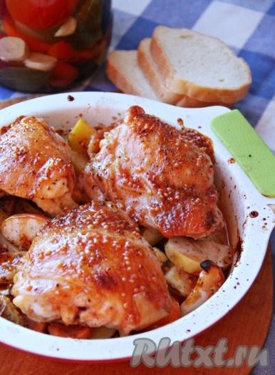 жареная курица в духовке рецепт с картошкой и