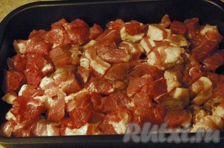 Выложить мясо в противень форму) с бортами, посолить, поперчить.