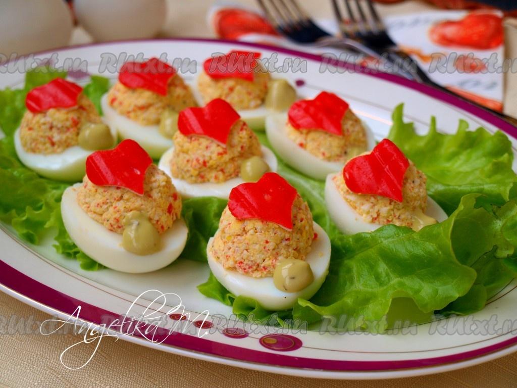яйца фаршированные крабовыми палочками рецепты с фото