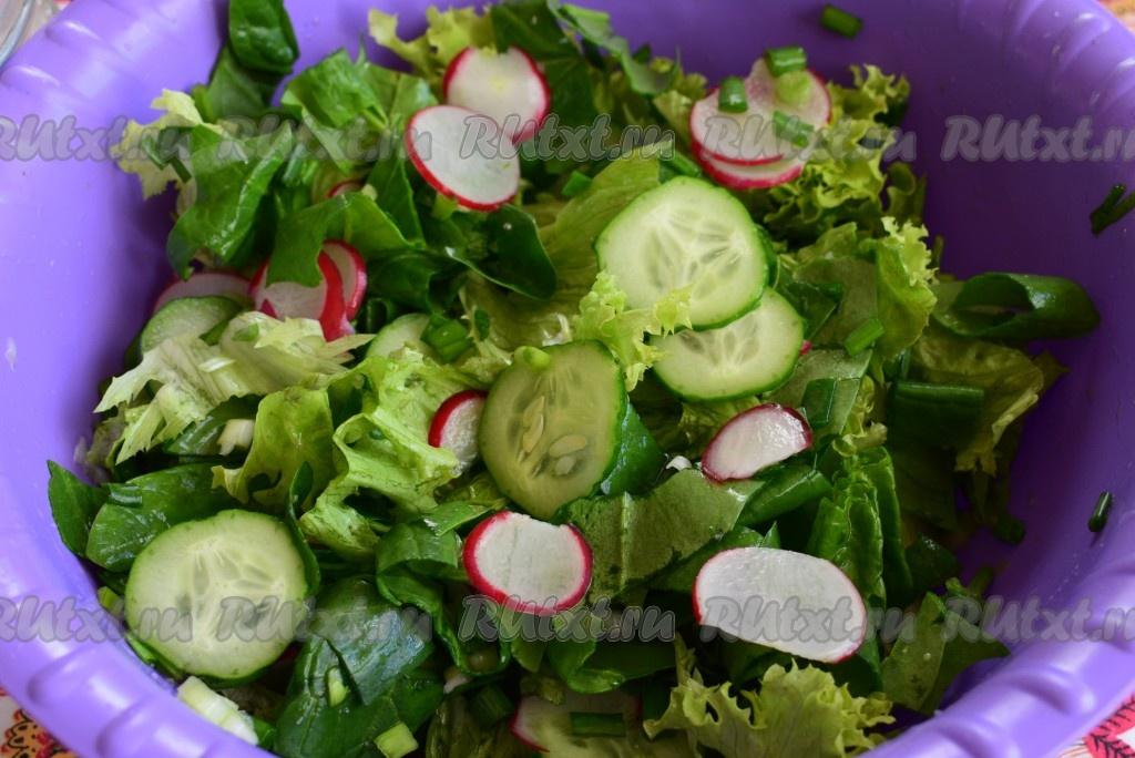 рецепты салата из салата и огурцов