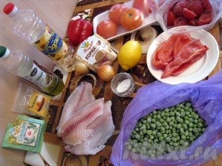 Ингредиенты для приготовления тилапии с овощами