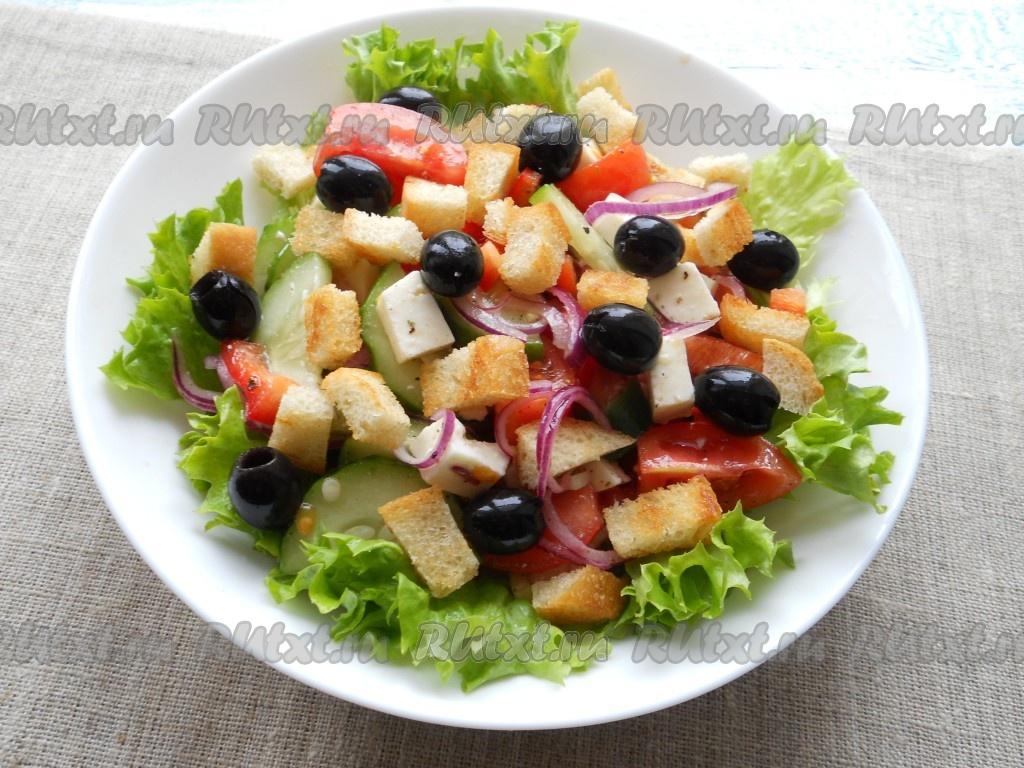 Греческий салат рецепт классический пошагово с сухариками