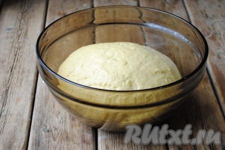 Перемешать и всыпать муку, которая осталась. Замесить мягкое, эластичное тесто, которое не будет липнуть к рукам. Миску смазать растительным маслом и выложить тесто, накрыть полотенцем и оставить в тёплом месте на 1,5 часа.