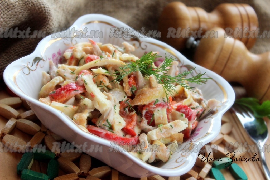 рецепт салата с копченым сыром и болгарским перцем