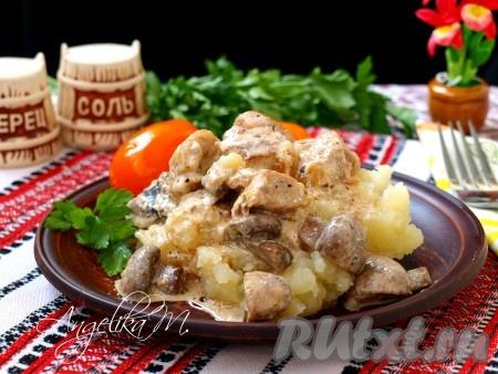 В тарелку поместить гарнир (у меня картофельное пюре), сверху выложить кусочки индейки с луком и грибами, полить сливочным соусом. Очень вкусно!