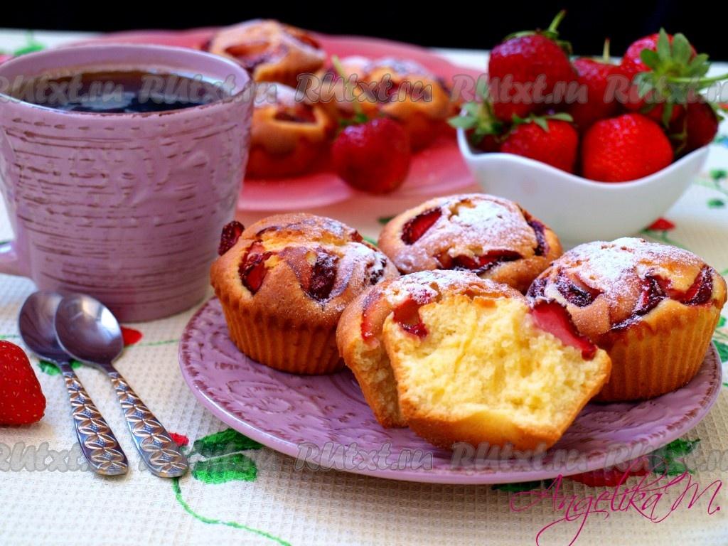 Обои кексы, клубника, сахарная пудра, выпечка. Еда foto 14