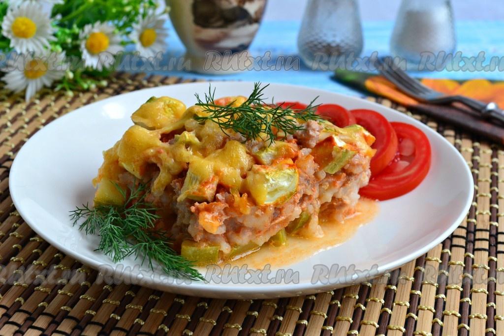 кабачки в духовке с фаршем и рисом рецепт