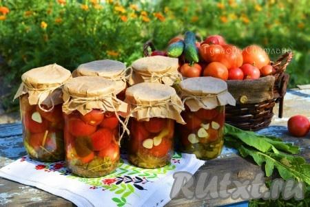 Маринованные помидоры получаются кисло-сладкими,резкими и вкусными, с насыщенным ароматом перца, чеснока и пряностей!