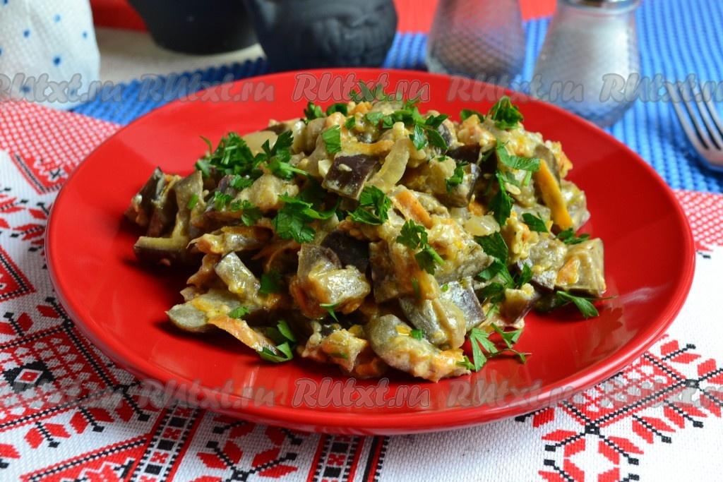 Тушеные баклажаны с чесноком рецепт