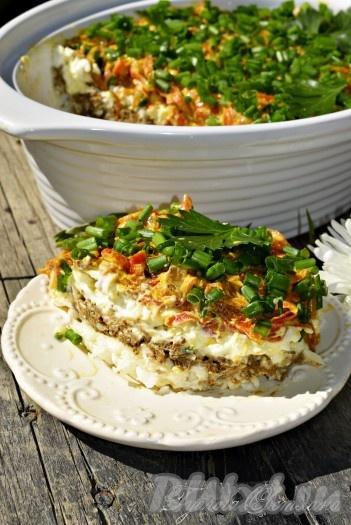 салат слоеный с печенью рецепт с фото пошагово