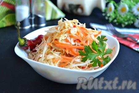 Необычайно вкусную, пикантную, острую капусту, приготовленную по-корейски, сразу же подать к столу. Хранить такую капусту нельзя, делайте на 1 раз. Очень удачный рецепт, попробуйте!