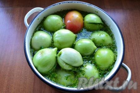 Для приготовления рассола в холодной кипяченой воде растворить соль и сахар, залить рассолом помидоры.{amp}#xA;