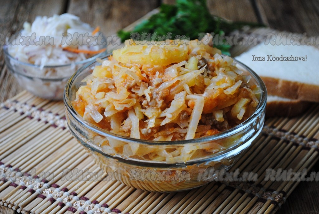 капуста картошка фарш рецепт