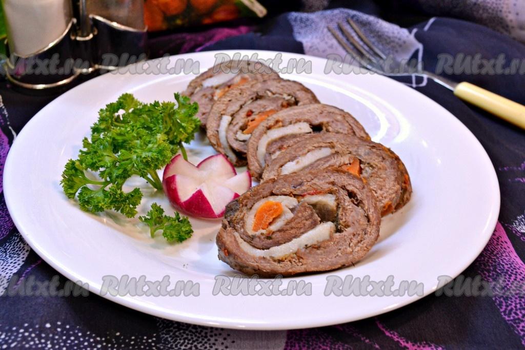 рулет мясной запеченный в духовке из говядины фото рецепт