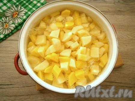 Картофель, лук, чеснок и морковь очистить. Картошку нарезать небольшими кубиками, залить холодной водой так, чтобы она полностью была покрыта водой, отправить на огонь. Варить картофель, подсолив воду, 20-25 минут (до готовности).