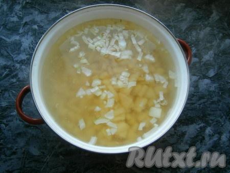 Морковь, картошку и лук очистить. Воду вскипятить в кастрюле, добавить нарезанный кусочками картофель, а также одну нарезанную кусочками луковицу и соль по вкусу. Варить картофель на небольшом огне 20-25 минут.