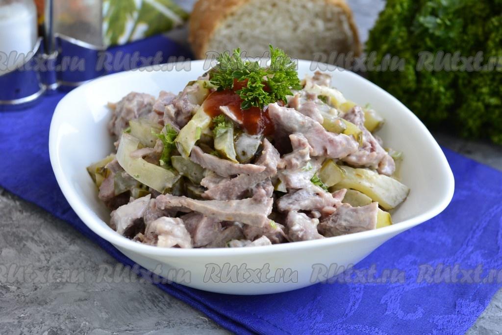 Очень вкусный салат с языком