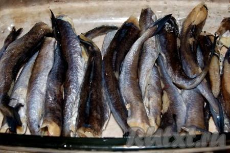 Рыбу чистим, моем, укладываем  в форму, смазанную растительным маслом.